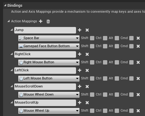 Action mappings for the MMO controller