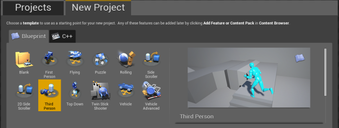Create a new project using the Third Person Blueprint template